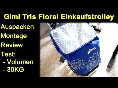 Gimi Tris Floral Einkaufstrolley Blau - Auspacken Montage Review Test mit ca. 30KG Einkauf / Gewicht