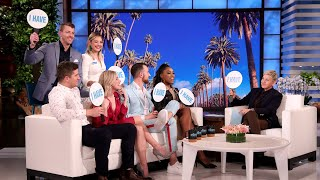 "Ellen found out some steamy secrets about the cast of ""Love Is Blind"" during a round of ""Never Have I Ever."" Find out what surprising things Lauren and Cameron, Amber and Matt, and Giannina and Damian admitted during the game!  #LoveIsBlind #NeverHaveIEver #TheEllenShow"