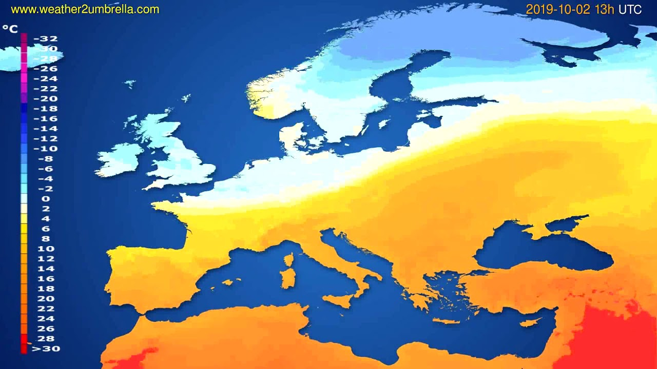Temperature forecast Europe // modelrun: 12h UTC 2019-09-30