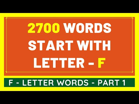 2700 Words That Start With F #1 | List of 2700 Words Beginning With F Letter [VIDEO]