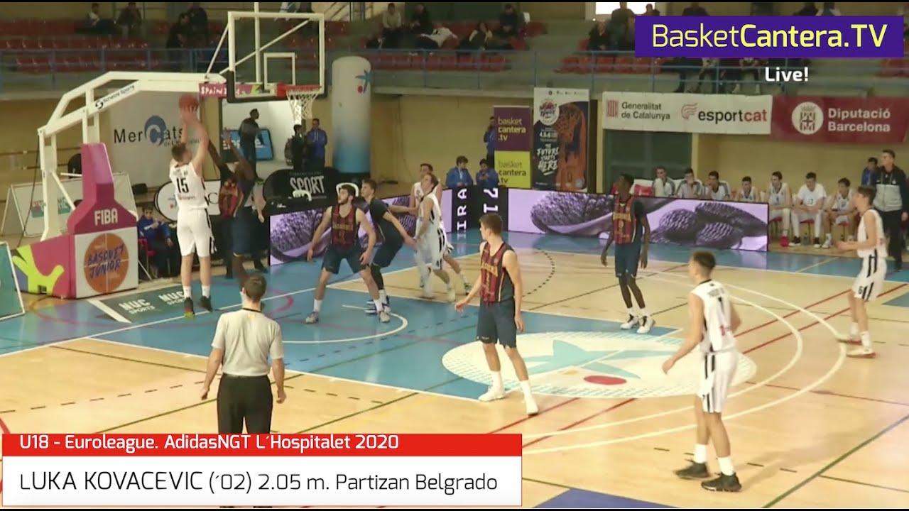LUKA KOVACEVIC (´02) 2.05 m. Partizan Belgrado. Torneo U18 L´Hospitalet 2020 (BasketCantera.TV)