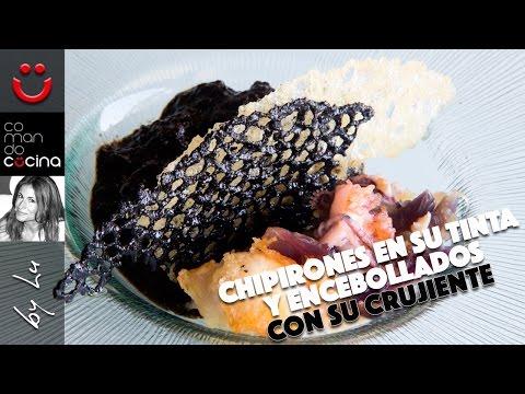 CHIPIRONES EN SU TINTA Y ENCEBOLLADOS CON SU CRUJIENTE, receta ganadora Bra, MJ y Martín Berasategui