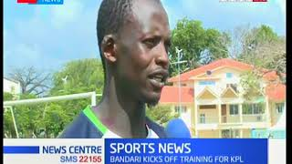 Former player and new Bandari FC manager Wilson Obungu speaking to Victor Ogalle