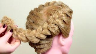 Смотреть онлайн Объемная коса по всей голове