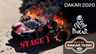Dakar first stage, car on fire - Coronel twins in the Dakar 2020 rally with the Beast 3.0
