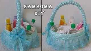 عمل سلة لاغراض ومستلزمات البيبي من سلسلة تجهيزات للمواليد / Diy Baby Gift Basket Idea