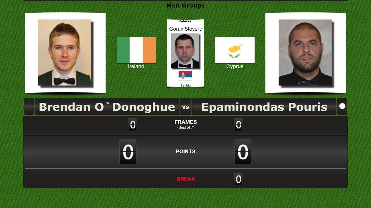 European Snooker Championships → Nicosia 2017 Brendan O`Donoghue vs Epaminondas Pouris