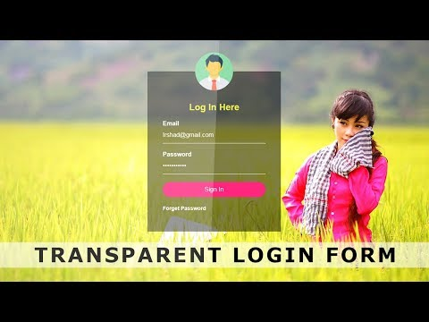 Transparent Login Form with HTML & CSS – Login form Design