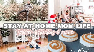 STAY AT HOME MOM ROUTINE| INDOOR TODDLER ACTIVITIES, WORKOUT, CLEAN & PANCAKES| Tres Chic Mama