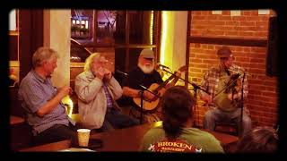 """James, John, Mark and Ralph playing """"Going To California"""" at Old Town Coffee Chocolates in Eureka CA"""