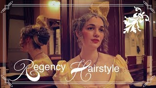 Regency Updo ⊰ Historical Hairstyle ⊱ Simple Bun And Silk Turban Bow