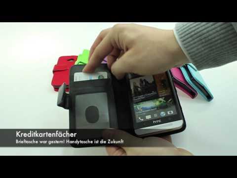 Handytasche: HTC One M7 Leder Tasche mit Standfunktion