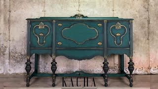 Painting A Buffet In Green W Chalk Paint / Vintage Furniture Makeover
