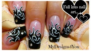 Tattoo Nail Art Design Tutorial   Black and White Nails ♥ Дизайн Ногтей - Татуировка