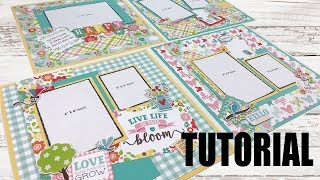 Scrapbook Tutorial   Echo Park   Spring Fling *4 Layouts* Cutting Guide A