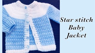 Baby Boy Set: How To Crochet Newborn Star Stitch Sweater Jacket -cardigan 0-6M Crochet For Baby #176