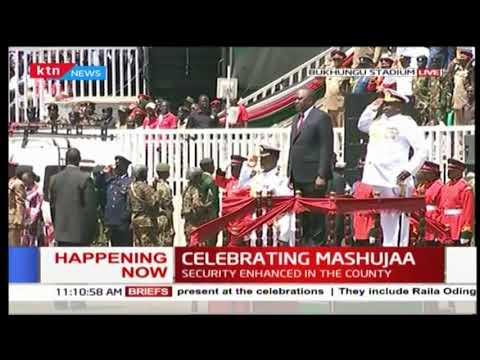 President Uhuru Kenyatta, First Lady arrive at Bukhungu Stadium | #MashujaaDay2018