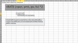 Finding Yield to Maturity using Excel