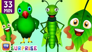 Learn GREEN Colour with Funny Egg Surprise & GREEN Song   ChuChuTV Surprise Eggs Colors for Kids