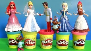 Play Doh Disney Princess Cinderella's Fairytale Wedding MagiClip Bridesmaids Anna Elsa Magic-Clip