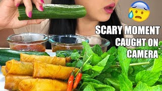 ASMR FIRECRACKER PRAWN EGG ROLLS + LETTUCE WRAP | Scary Moment Caught On Camera | ASMR Phan
