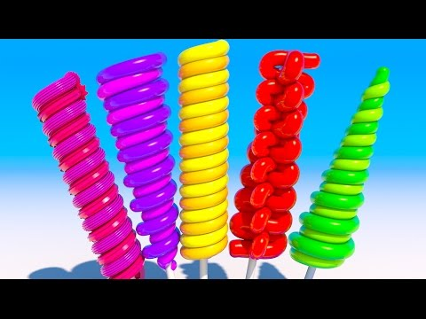 Learning Colors With 3D Long Lollipops for Kids