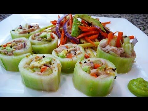 Video Cucumber Tuna Rolls, easy, healthy recipes