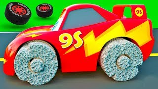 Cars with Ancient Wheels - McQueen Friends change color wrong Wheels, Color Garage stories for Kids