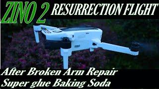 Zino 2 Resurrection Flight After broken Arm Repairs with Super Glue and Baking Soda