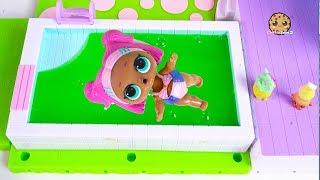 Slime Pool ! LOL Surprise + Shopkins Toy Play Video - Cookie Swirl C