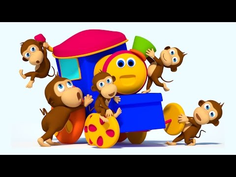 Bob The Train | Five Little Monkeys Jumping on the Bed | Nursery Rhymes | 3D Rhymes for Children