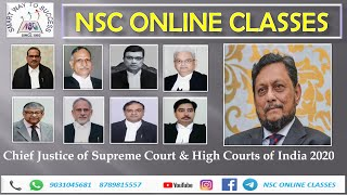 Chief Justice of Supreme Court and High Courts in India updated 2020