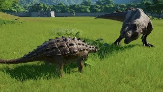 Euoplocephalus VS Albertosaurus, T-Rex, Spinosaurus, Giganotosaurus & More Jurassic World Evolution