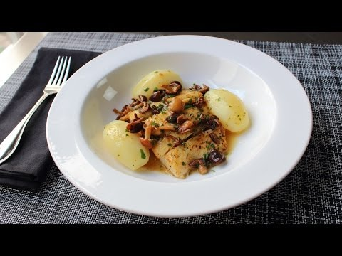 Pan-Roasted Halibut with Mushrooms & Lemon Butter Sauce – Fast & Easy Halibut Recipe