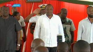 President Uhuru arrives in Mombasa for the launch of oil export
