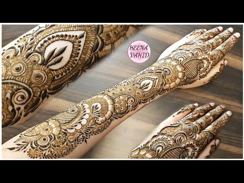 full hand arabic style mehndi design for back hands by heena vahid
