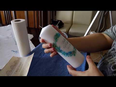 DIY Hochzeitskerze Folienverzierung