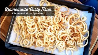 How To Make Curly Fries ~ KitchenAid Stand Mixer Spiralizer Attachment ~ Amy Learns To Cook