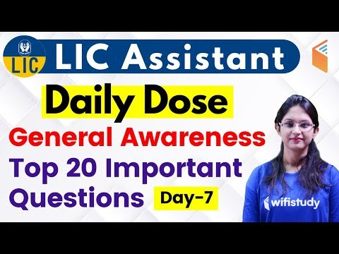 5:00 PM - LIC Assistant 2019 (Mains) | GA by Sushmita Ma'am | 20 Important Questions (Day-7)