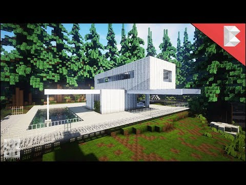 Minecraft: White Modern Wooden House  – Build Review 2018