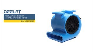 Floor Air Fan and Blower - Portable with Timer - 3-Speed     SKU #D1146627