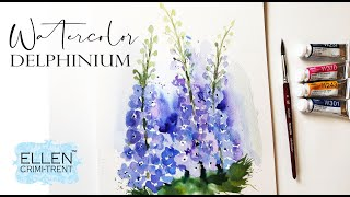 Loose Watercolor Delphinium For Beginners/ Step By Step Tutorial