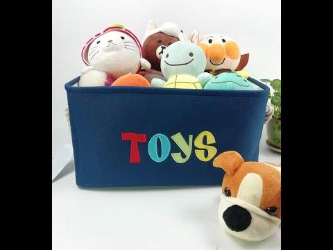 Корзина для игрушек прямоугольная  складная из льна TOYS DINO синяя (SB-28275) Video #1