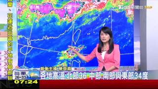 各地高溫炎熱臺東有焚風 午後近山區短暫雷陣雨