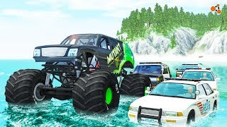 Beamng drive - Monster Truck Crashes, crushing cars, jumps, fails, police chases #4