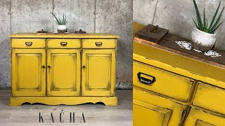 Furniture Makeover Using Milk Paint / Yellow Buffet