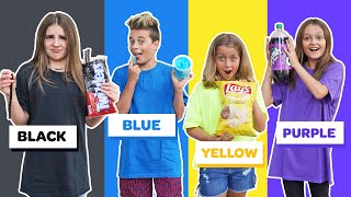 Last To STOP Eating Their COLOR Food WINS $10,000 Challenge *BAD IDEA* 🖤💙💛💜| Piper Rockelle