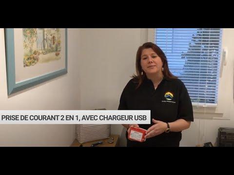 Sandra, électricienne certifiée Legrand, présente la prise surface Céliane avec chargeur USB Type-C
