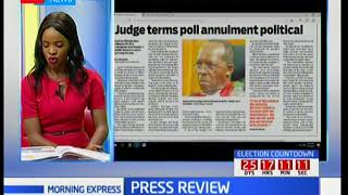 Judge terms poll annulment political, Press Review