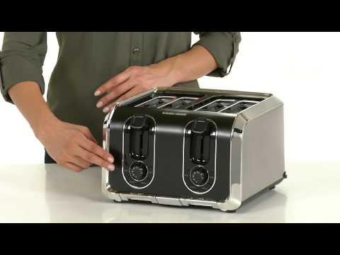 , BLACK+DECKER 4-Slice Toaster, Extra-Wide, Black, TR1410BD